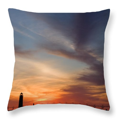 3scape Throw Pillow featuring the photograph Grand Haven Lighthouse by Adam Romanowicz
