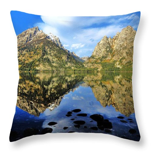 Grand Teton Throw Pillow featuring the photograph Grand Teton Mirror by Benjamin Yeager