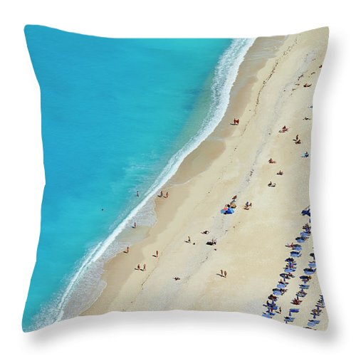 Water's Edge Throw Pillow featuring the photograph Greece, Ionian Island, Cephalonia by Tuul & Bruno Morandi
