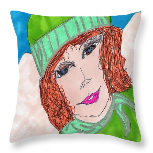 Lady In Green Outfit Throw Pillow featuring the mixed media Green Hat by Elinor Helen Rakowski