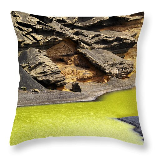 Lake Throw Pillow featuring the photograph Green Lagoon On Lanzarote by Karol Kozlowski
