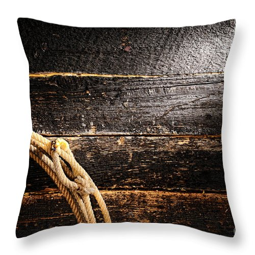 Cowboy Throw Pillow featuring the photograph Grunge Lasso by Olivier Le Queinec