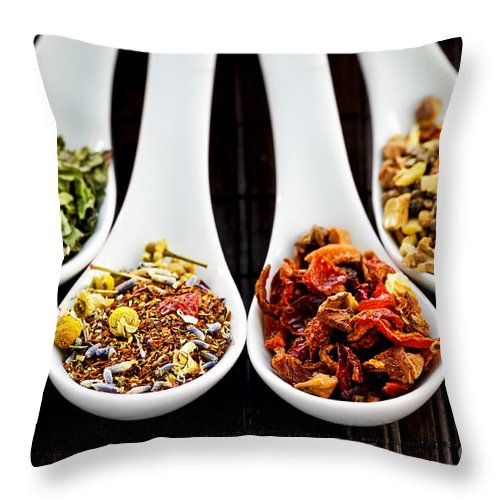 Tea Throw Pillow featuring the photograph Herbal Teas by Elena Elisseeva