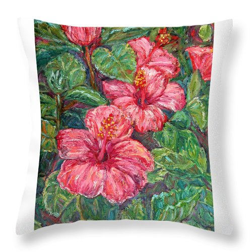Hibiscus Throw Pillow featuring the painting Hibiscus by Kendall Kessler
