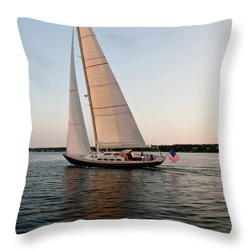 Photography Throw Pillow featuring the photograph Hope M52 Yacht Sailing In Sea, Rhode by Panoramic Images