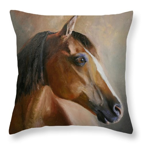 Horse Portrait Throw Pillow featuring the painting Horse Portrait II by Terri Meyer