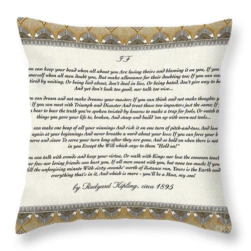 Rudyard Kipling Throw Pillow featuring the mixed media If By Rudyard Kipling by Desiderata Gallery