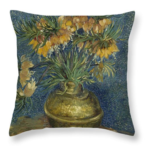 Vincent Van Gogh Throw Pillow featuring the painting Imperial Fritillaries In A Copper Vase by Vincent van Gogh