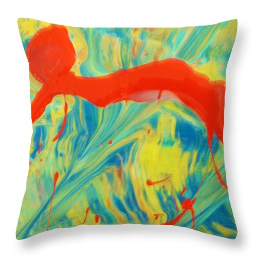 Original Throw Pillow featuring the painting In Doubt by Artist Ai