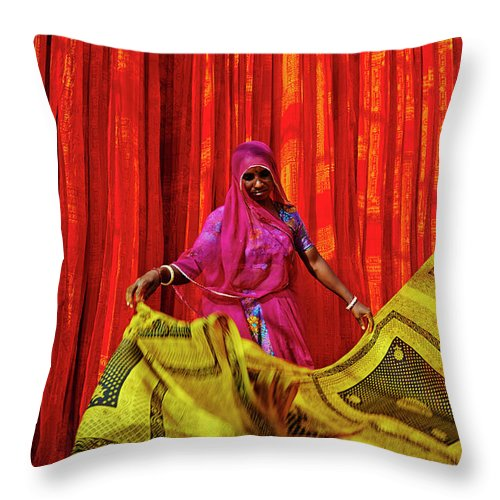 Working Throw Pillow featuring the photograph India, Rajasthan, Sari Factory by Tuul & Bruno Morandi