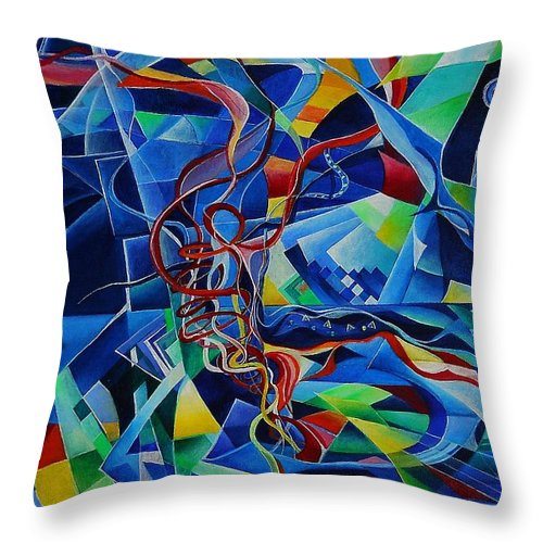 Johann Sebastian Bach Toccata And Fugue D Minor Acrylics Abstract Music Pens Gems Throw Pillow featuring the painting Inside The Cathedral by Wolfgang Schweizer