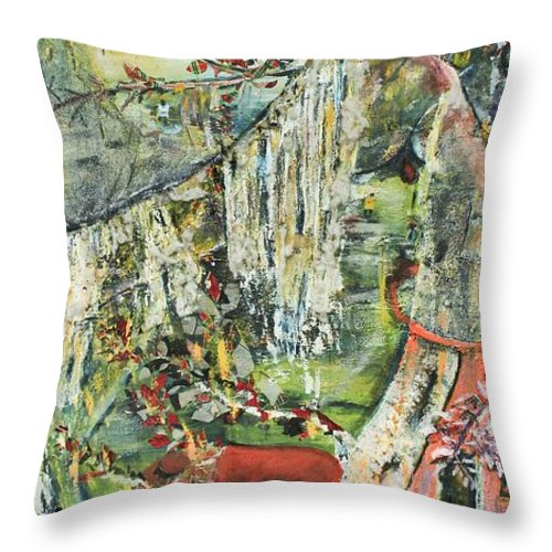 Landscape Throw Pillow featuring the painting Island Wonder by Peggy Blood