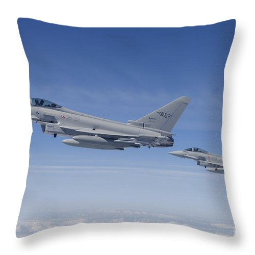 No People Throw Pillow featuring the photograph Italian Air Force Eurofighter Typhoon by Timm Ziegenthaler