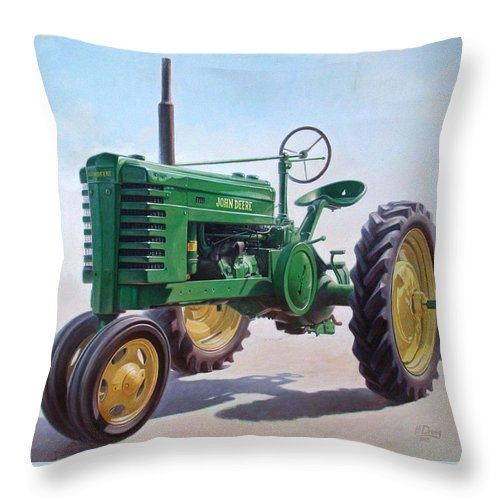 Tractor Throw Pillow featuring the painting John Deere Tractor by Hans Droog