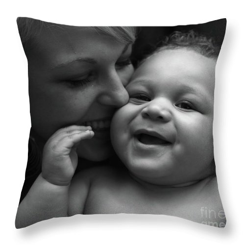 Black And White Throw Pillow featuring the photograph Joy by Nadine Rippelmeyer