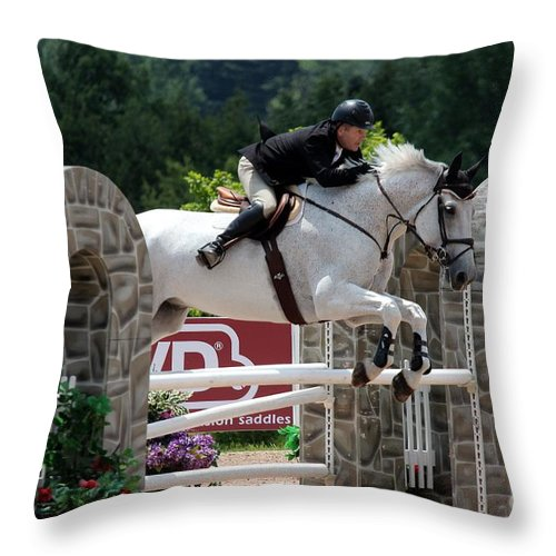 Equestrian Throw Pillow featuring the photograph Jumper100 by Janice Byer