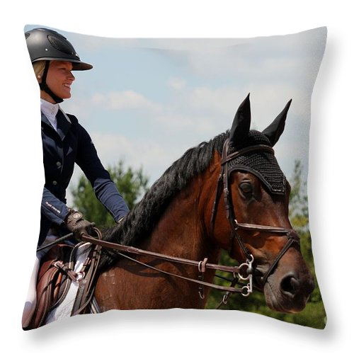 Equestrian Throw Pillow featuring the photograph Jumper54 by Janice Byer