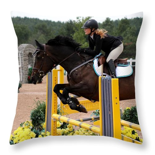 Equestrian Throw Pillow featuring the photograph Jumper67 by Janice Byer