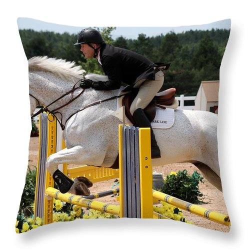 Equestrian Throw Pillow featuring the photograph Jumper69 by Janice Byer