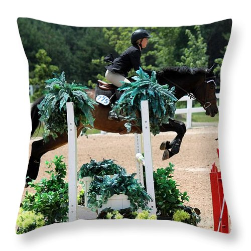 Equestrian Throw Pillow featuring the photograph Jumper72 by Janice Byer