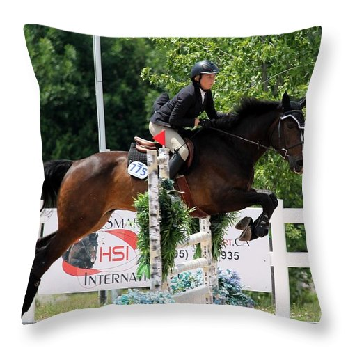 Equestrian Throw Pillow featuring the photograph Jumper74 by Janice Byer