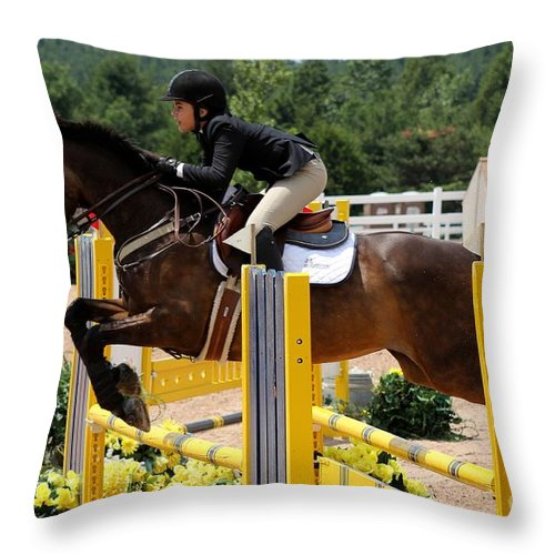 Equestrian Throw Pillow featuring the photograph Jumper75 by Janice Byer
