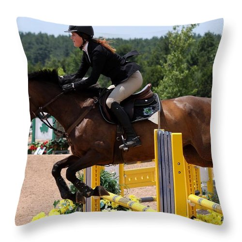 Equestrian Throw Pillow featuring the photograph Jumper76 by Janice Byer
