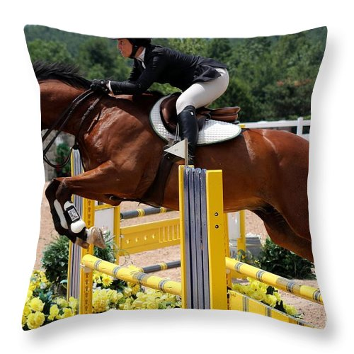 Throw Pillow featuring the photograph Jumper78 by Janice Byer
