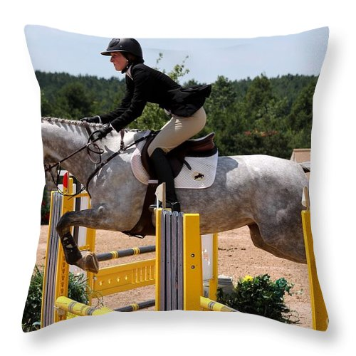 Equestrian Throw Pillow featuring the photograph Jumper79 by Janice Byer