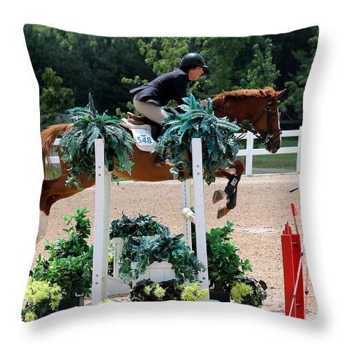 Equestrian Throw Pillow featuring the photograph Jumper81 by Janice Byer
