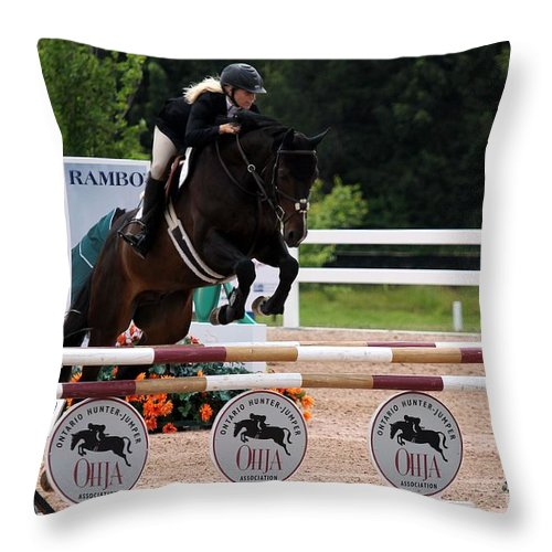 Equestrian Throw Pillow featuring the photograph Jumper83 by Janice Byer