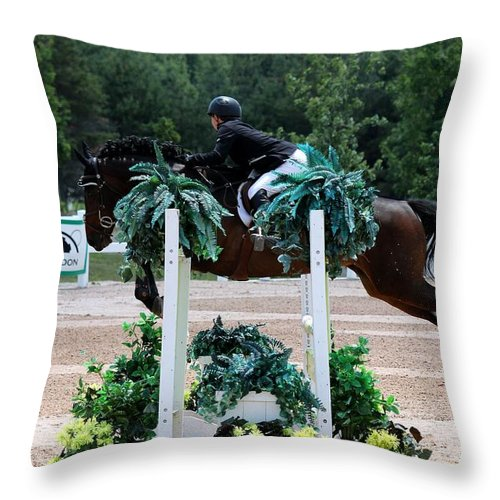 Equestrian Throw Pillow featuring the photograph Jumper96 by Janice Byer