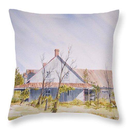 Old House Throw Pillow featuring the painting Just A Memory by Jackie Mueller-Jones