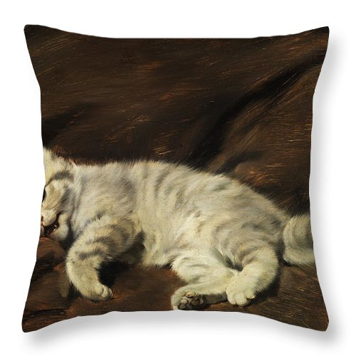 Kitten Throw Pillow featuring the painting Kitten by Julius Adam