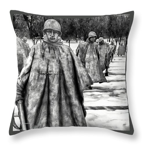 24th Division Throw Pillow featuring the painting Korean War Memorial Washington Dc by Bob and Nadine Johnston