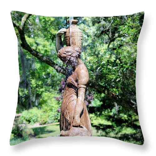 Fountain Throw Pillow featuring the photograph Lady At The Fountain by Cynthia Guinn