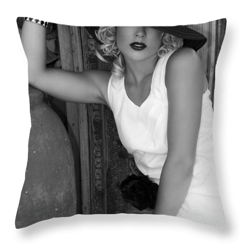 Female Throw Pillow featuring the photograph Lady In White Bw by William Dey