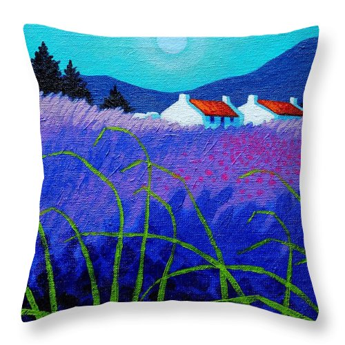 Acrylic Throw Pillow featuring the painting Lavender Field by John Nolan