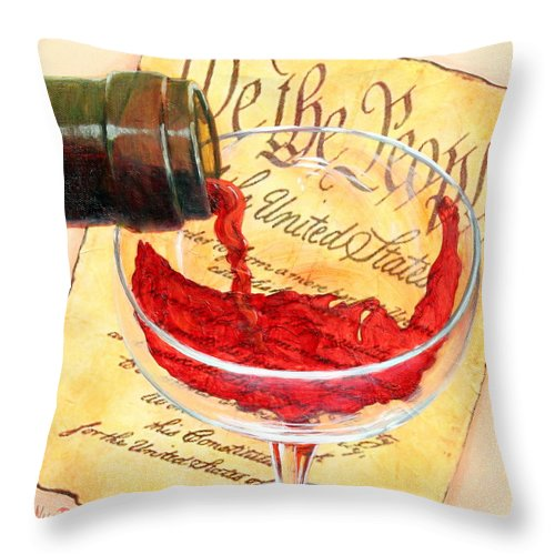 Red Wine Pour Throw Pillow featuring the painting Let Freedom Ring by Sandi Whetzel