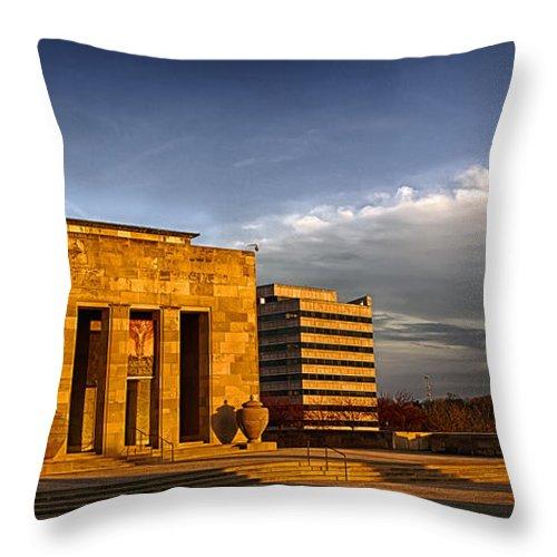 Kansas City Throw Pillow featuring the photograph Liberty Memorial by Sennie Pierson