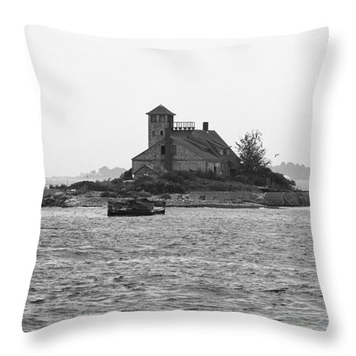 America Throw Pillow featuring the photograph Lighthouse Island - Portland Maine by Frank Romeo