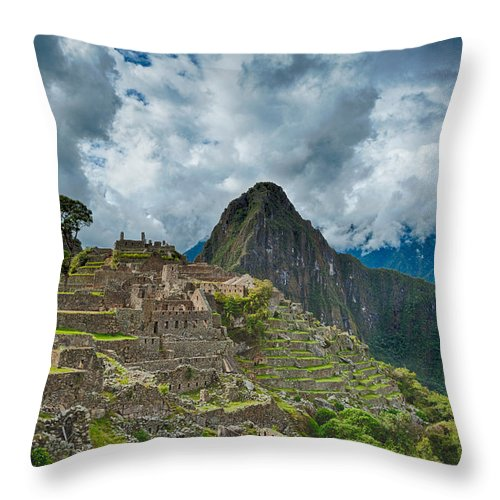 Ancient Throw Pillow featuring the photograph Machu Picchu by U Schade