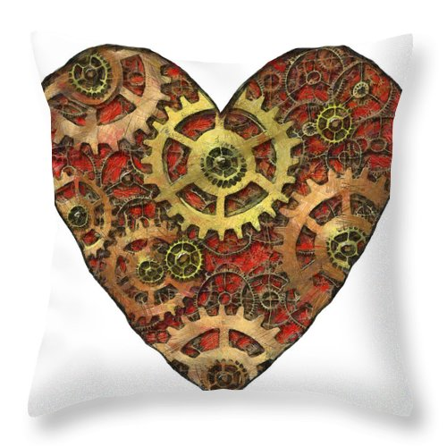 Heart Throw Pillow featuring the mixed media Mechanical Heart by Michal Boubin