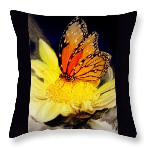 Monarch Throw Pillow featuring the pastel Monarch Resting Sold Pastel by Antonia Citrino