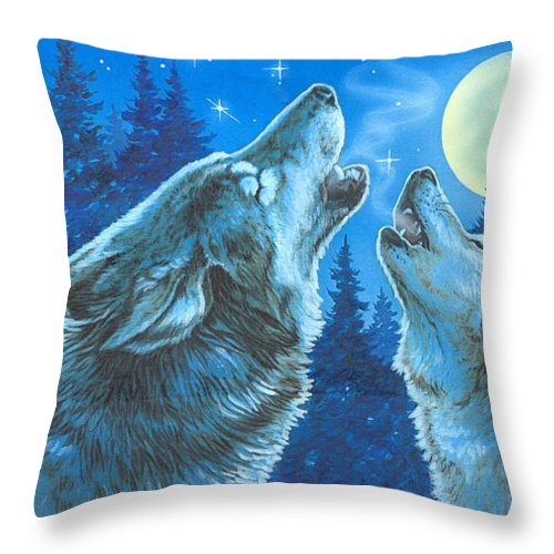 Wolves Throw Pillow featuring the painting Moon Song by Richard De Wolfe