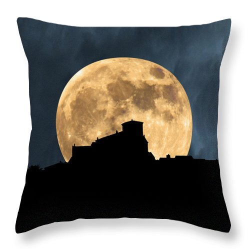 Tuscany Throw Pillow featuring the photograph Moonstruck Over Tuscany by Mike Nellums