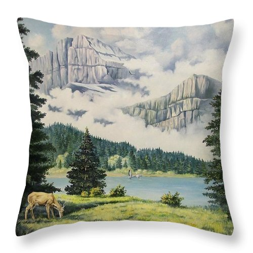 Landscape Throw Pillow featuring the painting Morning At The Glacier by Wanda Dansereau