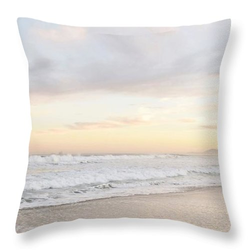 Dawn; Seascape; Beach; Landscape; Sand; Atlantic Ocean; Waves; Pink; Light; Sunrise; Cape Town; South Africa; Clouds; Blue; Sky; Throw Pillow featuring the photograph Morning Has Broken by Werner Lehmann