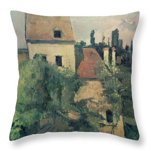 Landscape; Post-impressionist; France Throw Pillow featuring the painting Moulin De La Couleuvre At Pontoise by Paul Cezanne