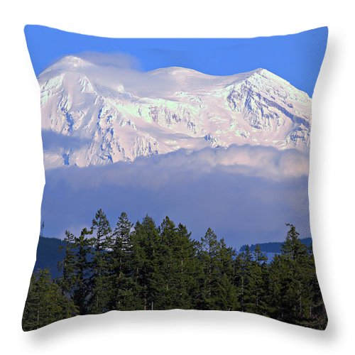 Outdoor Throw Pillow featuring the photograph Mount Rainier by Paul Fell